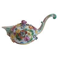 Rare 19th C. MEISSEN Cream Pot, Applied Flowers, Marked