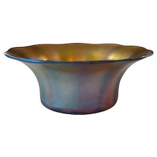 Tiffany FAVRILE Gold Iridescent Art Glass Deep Bowl, c. 1900