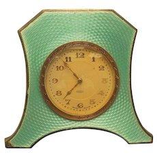 ART DECO 8-Day Travel Clock, Sterling Silver & ENAMEL Case