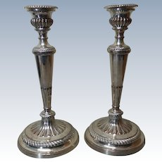 """Pair English OLD SHEFFIELD PLATE 10.75"""" Silver Candlesticks, c. Mid-19th Century"""