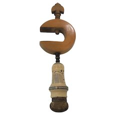19th C. Sewing Pincushion Carved Table Clamp