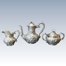 RARE Jenkins & Jenkins Sterling Silver REPOUSSE 3-PC Coffee or Tea Set, c. 1900