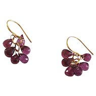 Tiffany & Co. 18 K Rhodolite Garnet Briolette Dangling Earrings