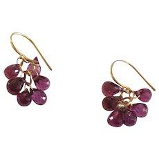 Tiffany & Co. 18 K Rhodolite Garnet Briolette Dangling Earrings
