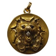 14 Karat Gold Locket / Pendant, BEAR'S HEAD, Diamond in Mouth
