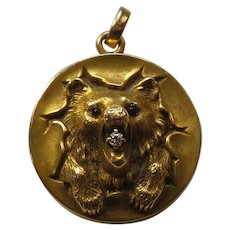 14 Karat Gold Locket / Pendant, BEAR'S HEAD, Diamond in Mouth