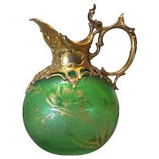 MONT JOYE French Art Glass Jug, Ornate Gilt Silver Neck & Handle, c. 1900