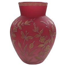 THOMAS WEBB English Cranberry Satin Cased Art Glass Vase, JULES BARBE Decoration