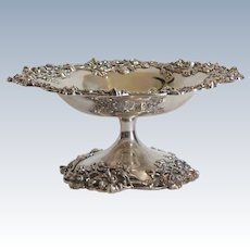 """Sterling Silver 7.5"""" Tazza Compote, Black, Starr & Frost, New York, c.1890"""