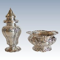 Gorham CHANTILLY GRAND Sterling Silver Salt Cellar & Pepper Shaker