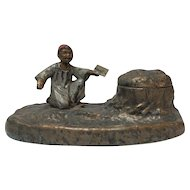 AUSTRIA BRONZE Cold Painted Inkwell, Arab Boy