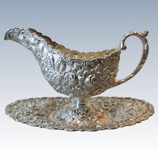 BALTIMORE Sterling Silver REPOUSSE Sauce / Gravy Boat & Tray