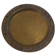 """Tiffany Furnaces Dore Bronze 10"""" Charger #317, Blue Favrile Inlay"""