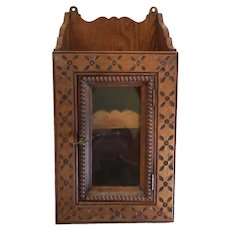 American Flemish TRAMP ART Carved Hanging Cabinet, c. 1900