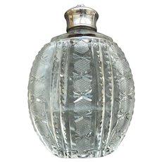 American Brilliant CUT GLASS Ladies Flask, Fraternal Crest