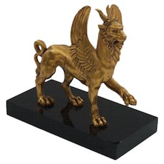 Dore Bronze Stylized MYTHICAL BEAST Sculpture on Black Onyx Base