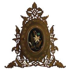 Palais Royal PIETRA DURA Double Picture Frame, Gilt Ormolu Stand