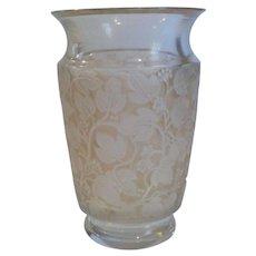 """Vintage Lalique DEAUVILLE 6"""" Vase, Sepia Stain / Patina, c. 1950"""