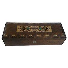 "Wooden Box, Inlaid PIETRA DURA Panels, marked ""Karlsbad"", c. 1890"