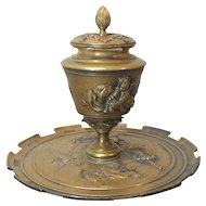 19th C. French Bronze INKSTAND / INKWELL, Cherubs & Musical Instruments