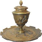 19th C. French Bronze INKSTAND / INKWELL, Cherubs & Musical Instruments
