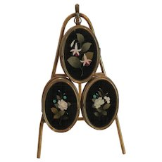 19th C. Palais Royal PIETRA DURA (Inlaid Marble Mosaic) Triple Picture Frame, Easel Stand