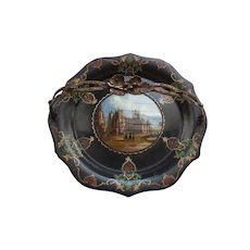 French Eglomise Papier Mache Basket Tray, Grand Tour Souvenir