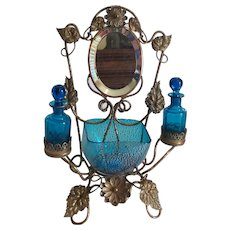 19th C. French PALAIS ROYAL Scent Caddy, Bronze Ormolu Stand