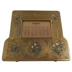 Tiffany Studios ABALONE Dore' Bronze Perpetual Desk Calendar #1166