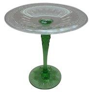 Hawkes Cut Glass Tazza / Compote, Green Pedestal Base, c. 1900