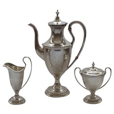 Kirk Sterling Silver 3-Piece Coffee / Tea Set, c. 1925-1932