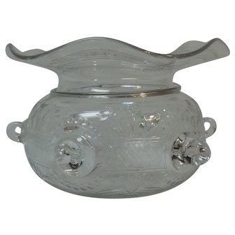 RARE Steuben Rock Crystal Ladies Cuspidor, Engraved Art Glass