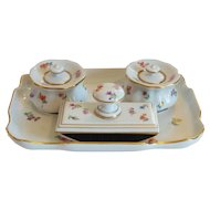 MEISSEN Porcelain 4-Piece Desk Inkwell Set, c. 1852-1870