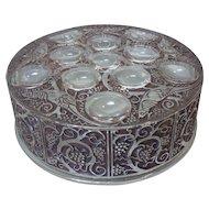 Vintage Lalique Crystal ROGER Art Glass Dresser/Powder Box, Bronze Patina/Staining