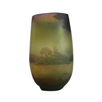 "De Vez French Cameo 5.5"" Art Glass Enameled Scenic Vase, c. 1920"