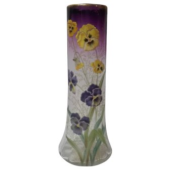 """Moser 14"""" Vase, Enameled Pansies, c. 1910-25"""
