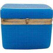 19th C. French OPALINE Art Glass Casket / Trinket Box, Brass Banded