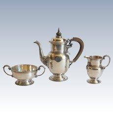 English Sterling Silver 3-Piece Coffee Set, London, c. 1930, 1330 Grams
