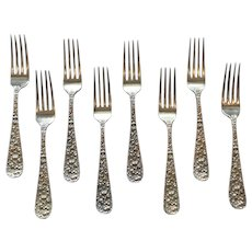 """Set/8 Stieff ROSE Sterling Silver Luncheon/Place Forks, Mono. """"N C L"""""""