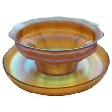 L.C. Tiffany FAVRILE Gold Iridescent Finger Bowl & Under Plate or Tray, Signed