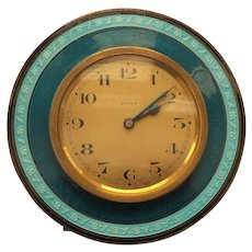 ART DECO 8-Day Travel Clock, Sterling Silver & ENAMEL Case