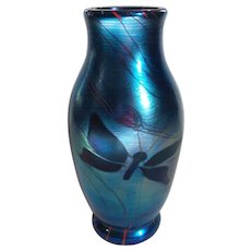 Signed JAMES LUNDBERG Art Glass Vase, Lundberg Studios, 1977 (#2)