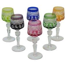 Set/6 Vintage Cut to Clear Liqueur Cordial Goblets