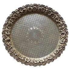 """Baltimore REPOUSSE Sterling Silver 6"""" Footed Tray, 122 grams"""