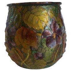"19th C. French H. PATINE Limoges Enamel on Copper 3"" Vase (#5)"