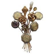 Custom 14 Karat Gold FLOWER Brooch, Diamond, Amethyst, Pearl Stick Pins
