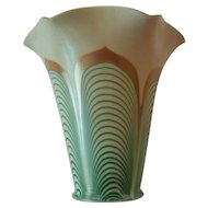 "Steuben AURENE Art Glass 5.5"" Lamp Shade, Pulled Feather, Carder Era"