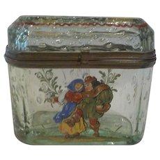Bohemian Enameled Art Glass Sugar Casket / Box, c. 1890