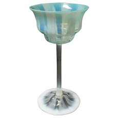"L C Tiffany Favrile Aqua PASTEL Opalescent Art Glass 7.5"" Wine Goblet"