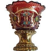 Bohemian Art Glass MASTER SALT, Bronze Base, Beaded, c. 1880's